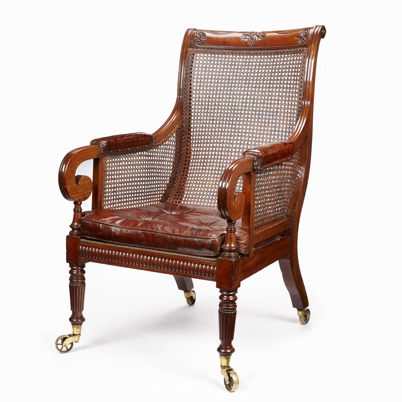 Regency period mahogany Library bergere armchair