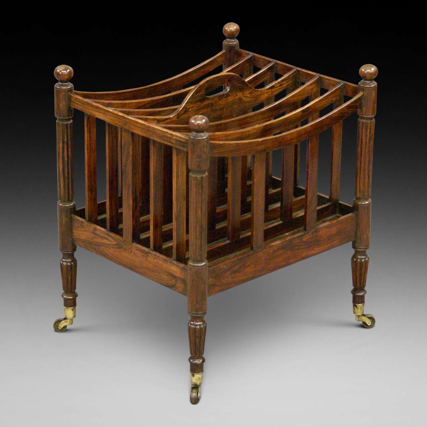 19th Century faux rosewood six division Canterbury
