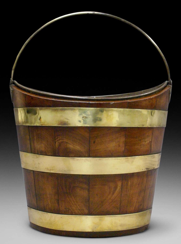 19th Dutch  figured mahoganybrass bound bucket