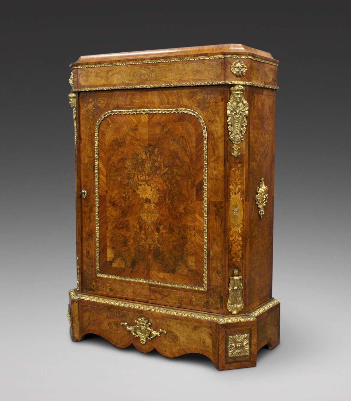 19th Century figured walnut and ormulu mounted pier cabinet