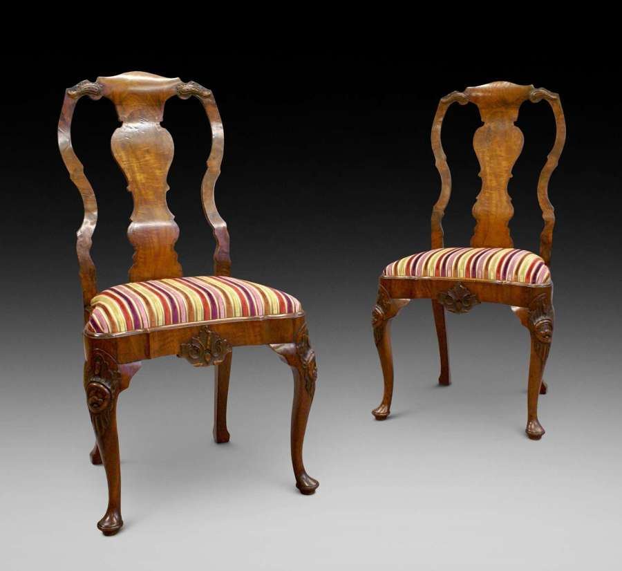 Pair of George I style walnut carved cabriole leg side chairs