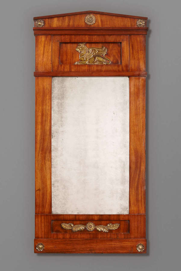 French Empire period mahogany and ormulu mounted pier mirror